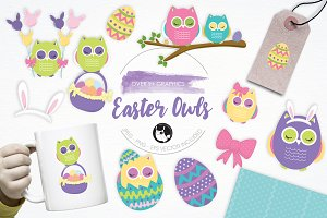 Easter Owls illustration pack