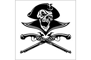 Piracy skull and crossed pistols