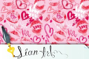 Seamless pattern with hearts, lips
