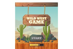 Start screen for wild west web or mobile game