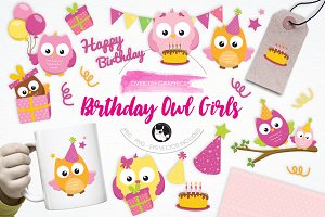 Birthday Owls Girls illustrations