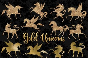 Gold Unicorn and Pegasus Clipart