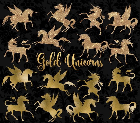 Gold Unicorn And Pegasus Clipart