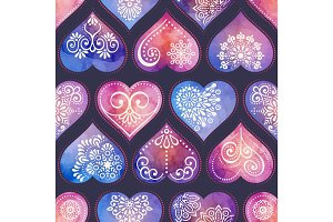 Watercolor seamless patern with heart and mandala ornament