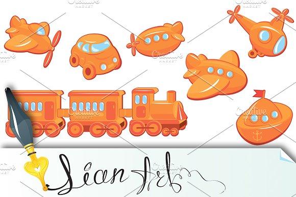 Set of boys toys - transport cartoon