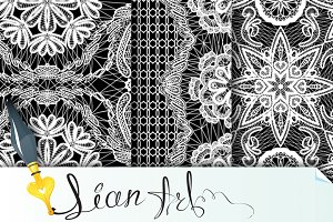Seamless pattern - floral lace ornam