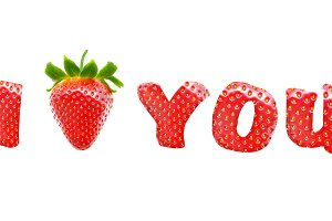 "Text ""I Love You"" with strawberry"