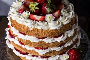angel food cake with fresh berries