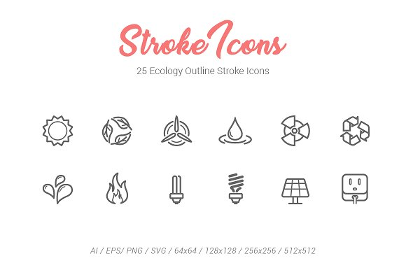25 Ecology Outline Stroke Icons