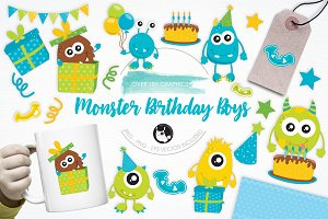Monster Birthday Boys illustrations