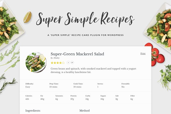 WordPress Plugins: Sculpture Qode - Super Simple Recipes - Recipe Cards