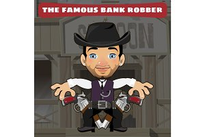 Cartoon character in Wild West robber