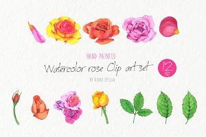 Watercolor rose clipart arrangements