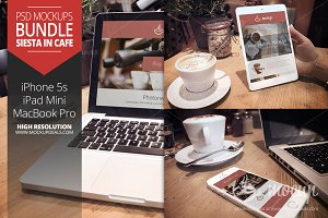 3 PSD Mockups Siesta in cafe