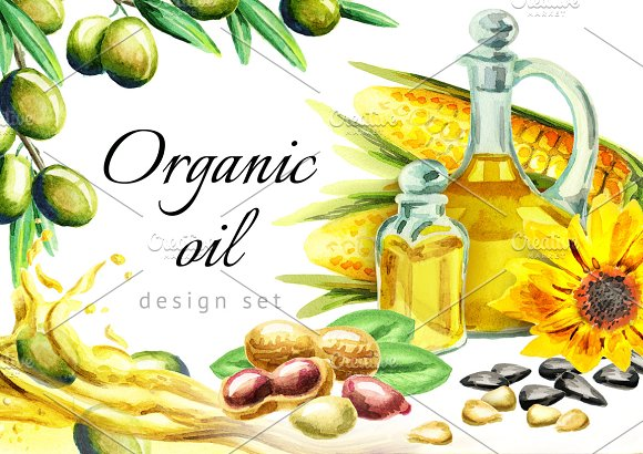 HAND PAINTED Organic Oil Set