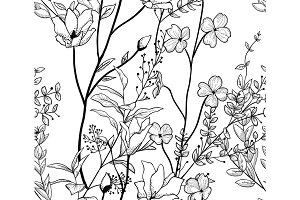 Vector Black Seamless Pattern with Drawn Flowers, Branches, Plants