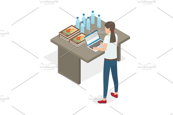 Businesswoman Standing And Practicing On Computer