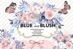 Watercolor Blue and Blush collection