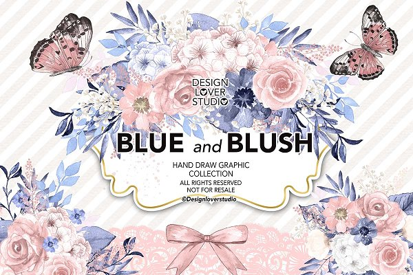 Watercolor Blue and Blush collectio…