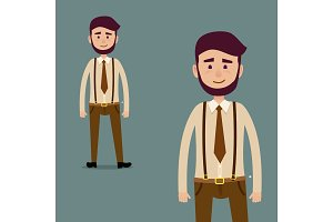 Young Male Bearded Cartoon Character Illustration
