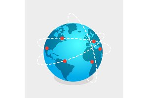 Earth and Online Shops Net Isolated Illustration