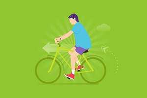 Biking exercise flat illustration