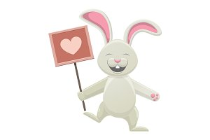 Smiling White Bunny Holding Poster with Heart