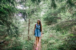 fashion woman travel in forest
