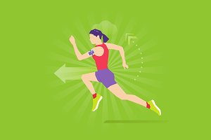 Running exercise flat illustration