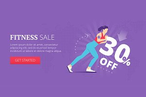 Fitness sale web banner