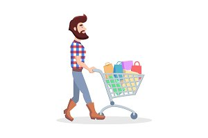Hipster with Shopping Trolley Full of Goods Vector
