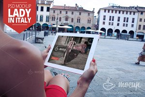 iPad 2 Mockup Lady in Italy