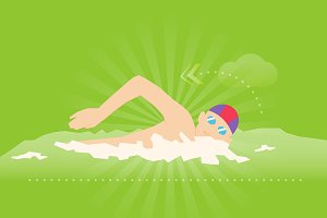Swimming exercise flat illustration
