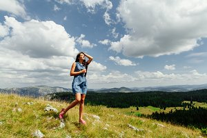 woman relax on hill