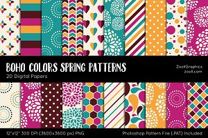 Boho Colors Spring Digital Papers