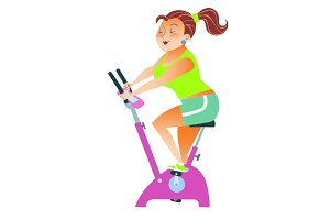 sportsman girl exercise bike