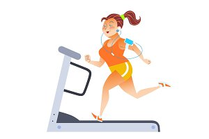 Fat woman on sport stationary treadmill