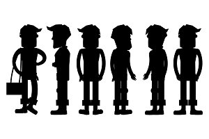 Set of Hipster Characters Vector Silhouettes