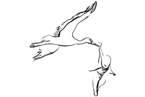 Stork with newborn baby. Sketching