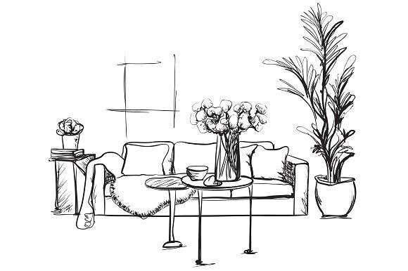 Room Interior Furniture Sketch
