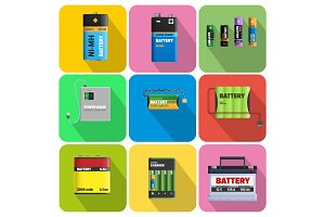 Colorful Charging Devices Illustrations Set