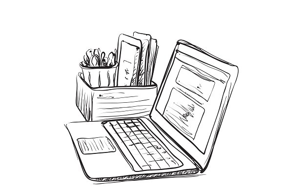 Computer And Documents Sketch
