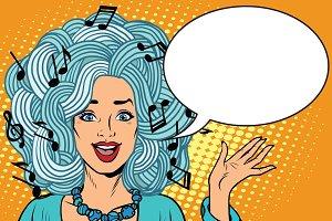 Pretty girl loves music