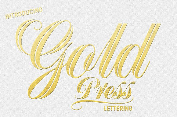 Gold Press Lettering Layer Styles Creative Market