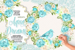 Watercolor Aqua Dreams wreath