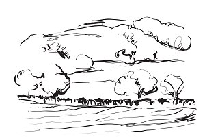 Hand drawn landscape