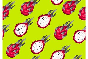 Seamless pattern with dragon fruits. Illustration of tropical plant