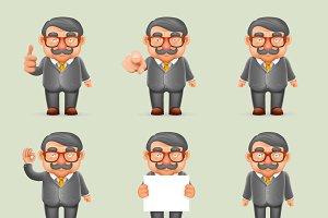 Businessman Different Actions