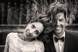 Beautiful bride throws her hair