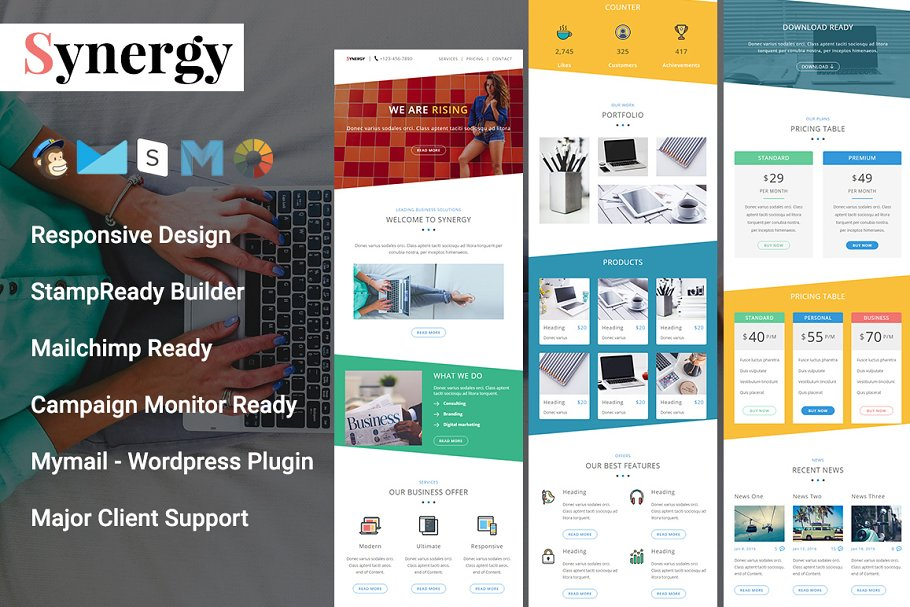 Synergy - Responsive Email Template - synergy preview - 10 creative and affordable MailChimp templates